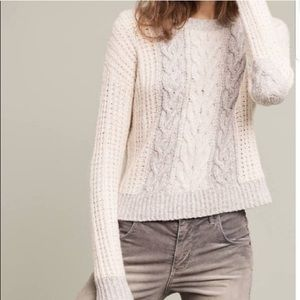 Anthropologie Chunky Knit Elbow Patch Sweater